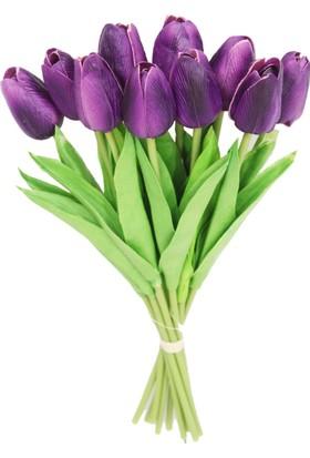 Yapay Çiçek Deposu Yapay 10Lu Islak Lale Buketi Gerçek Doku Koyu Mor