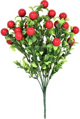 Yapay Çiçek Deposu Yapay Yeşillik Ara Dal Kiraz Demeti 35 Cm