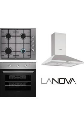 Lanova Süper Eco 3lü Ankastre Set(1104X02 Fırın + 16400X207 Inox Ocak + Furina Davlumbaz)