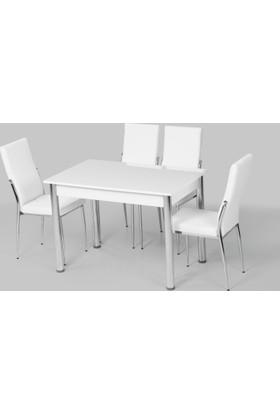 Azzore Ahşap Beyaz Masa Takımı