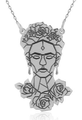 İndigo Takı Frida Kahlo Figürlü Gümüş Kolye