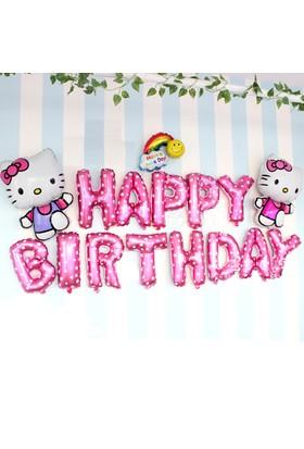 Qr Party Hello Kitty Happy Birthday Folyo Balon Seti 16 Adet Doğum Günü Balonu