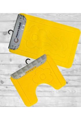 Koza Halı Banyo Seti 2'Li Klozet Takımı Sarı