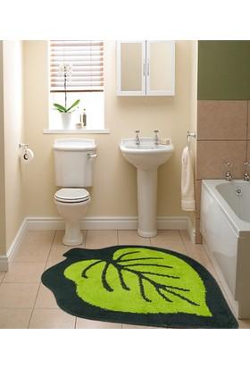 Koza Halı Yaprak Banyo Paspası Yeşil 100X100 Cm