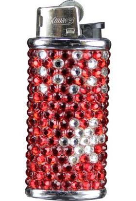 Zirkon Elements Taşlı Çakmak Kılıfı Red Star