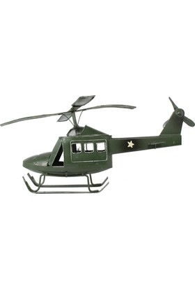 T-Bek Savaş Helikopteri Eskitilmiş Metal Biblo Yeşil No-114