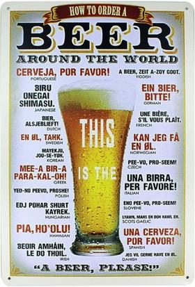 T-Bek Dekoratif Vintage Metal Pano Beer 20X30