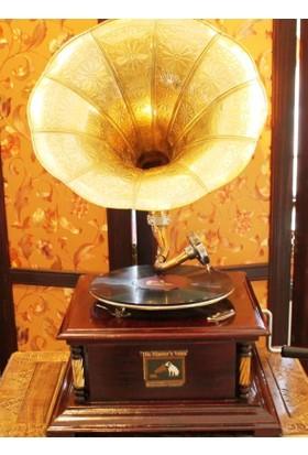 Otantik Çarşı Ahşap Kare Gramofon Sarı Metal Süslemeli
