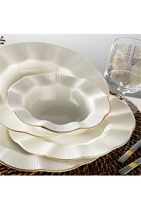 Kütahya Porselen Milena Krem Porselen Fileli 6 Kişilik 24 Parça Yemek Takımı