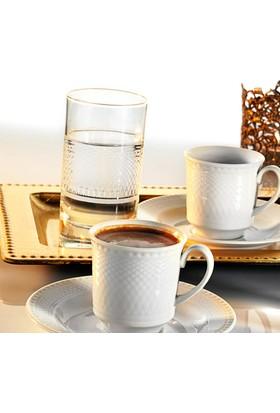 Kütahya Porselen Zümrüt 18 Parça 6 Kişilik Su Bardaklı Kahve Fincan Takımı