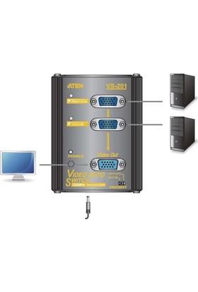 Aten 2Port Vs201-At-G 1X 15Pin Dsub (Dişi) 1920X1440 150Mhz Video Switch 65Metre Mesafeye Kadar