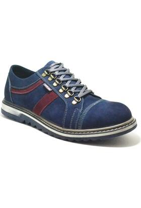 Dropland® Hakiki Deri Lacivert Nubuk Yüksek Taban Erkek Ayakkabı