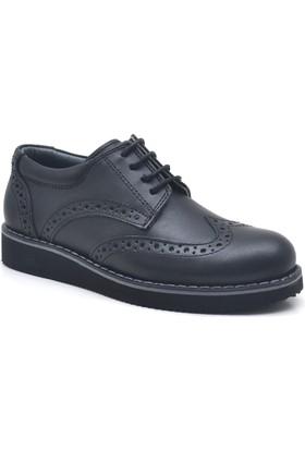 Raker® Plus Hakiki Deri Siyah Erkek Çocuk Ayakkabısı