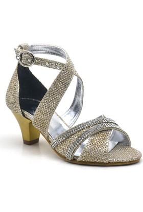 Sarıkaya Abiye Altın Rengi Taşlı Topuklu Kız Çocuk Ayakkabı