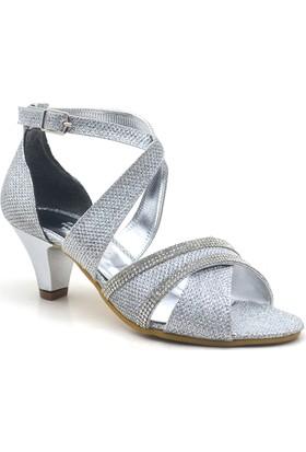 Sarıkaya Abiye Gümüş Taşlı Topuklu Kız Çocuk Ayakkabı