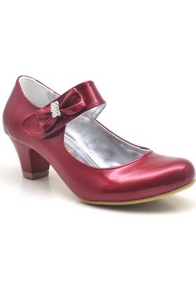 Sarıkaya Abiye Kırmızı Taşlı Fiyonklu Rugan Topuklu Kız Çocuk Ayakkabı