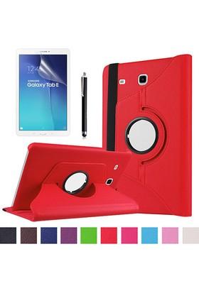 Kea Samsung Galaxy Tab E Sm-T560 9.7 360° Dönebilen Standlı Kırmızı Kılıf + Ekran Koruyucu Film + Tablet Kalemi