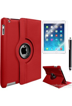 Kea Apple iPad Air 2 (iPad 6) 360° Dönebilen Standlı Kırmızı Kılıf + Ekran Koruyucu Film + Tablet Kalemi