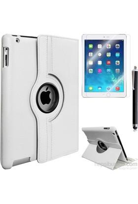 Kea Apple iPad 2 360° Dönebilen Standlı Beyaz Kılıf + Ekran Koruyucu Film + Tablet Kalemi