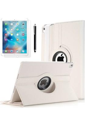 Kea Apple iPad Pro 12.9 360° Dönebilen Standlı Beyaz Kılıf + Ekran Koruyucu Film + Tablet Kalemi