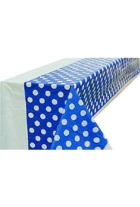 Partypark Plastik Masa Örtüsü Mavi Puanlı