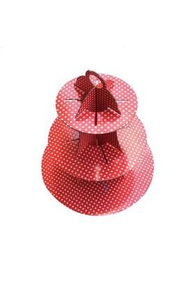 Partypark Kırmızı Puanlı Kek Standı