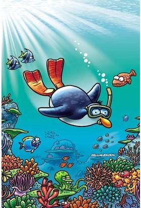 """Penguen: Selçuk Erdem Tasarımlı """"Denizler Altında"""" Defter Küçük Boy (Çizgisiz)"""
