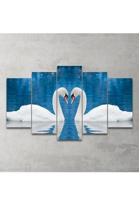 Plustablo Kuğular 5 Parça Mdf Tablo 100X60 Cm