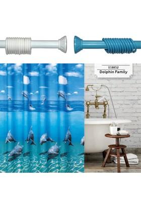 Beytug Dolpn Duş,Banyo Perdesi 180x200 Banyo Askısı Hediye
