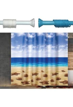 Beytug Beach Duş,Banyo Perdesi 180x200 Banyo Askısı Hediye