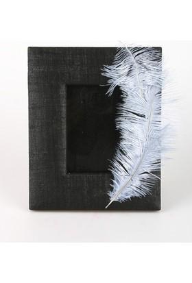 Kancaev Siyah Kumaş Kaplı, Gri Tüylü Fotoğraf Çerçevesi, Dıştan Dışa:25,5*30cm. Fot. Bölümü:17,5*12cm.