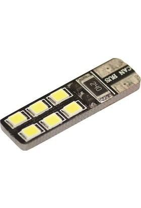 Dipsiz LED Ampul Beyaz 12 V 12 LED T10 Can Bus 2 Adet