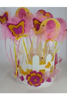 Zey Tasarım Fil Ve Kelebek Temalı Bebek Şekeri Hediye Sepeti