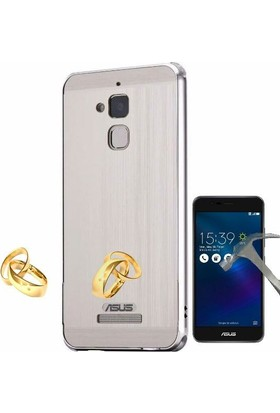 Teleplus Asus Zenfone 3 Max Zc520Tl Aynalı Metal Kapak Kılıf + Cam Ekran Koruyucu