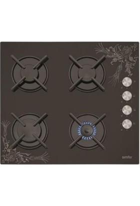 Simfer 3037 Siyah Cam Tezhip Desen Setüstü Ocak