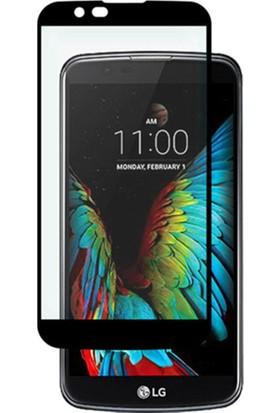 Case 4U LG K10 Full Kapatan Cam Ekran Koruyucu Siyah