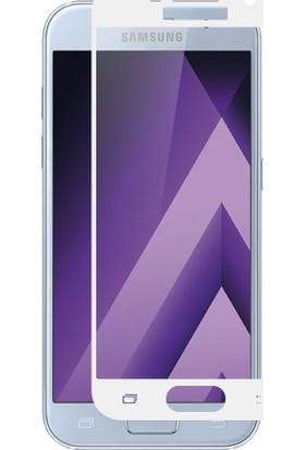 Case 4U Samsung Galaxy A7 2017 Full Kapatan Cam Ekran Koruyucu Beyaz