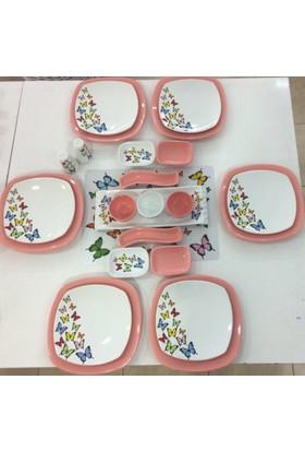 Keramika 24 Parça 6 Kişilik Pembe Kelebek Desenli Kahvaltı Takımı
