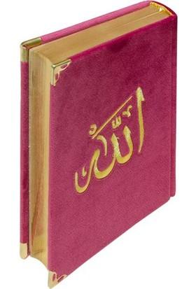 Hayrat Kadife Kuran-I Kerim Rahle Boy (Pembe, Nakışlı, Yaldızlı, Mühürlü)