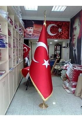 Ekin Bayrak Makam Türk Bayrağı (Sarı Simli) + Krom Makam Direği (Takım)