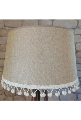 Lambada Keçe Kumaş Ponpon Aksesuarlı Lambader Şapkası (Bej Keten)
