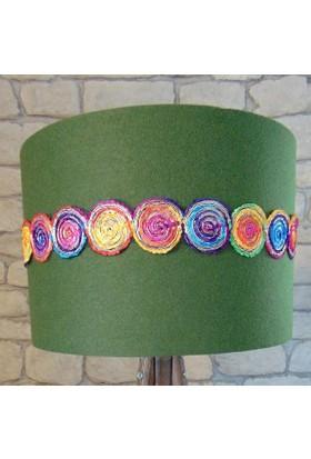 Lambada Keçe Kumaş Hint İşi Şerit Aksesuarlı Lambader Şapkası (Yeşil)
