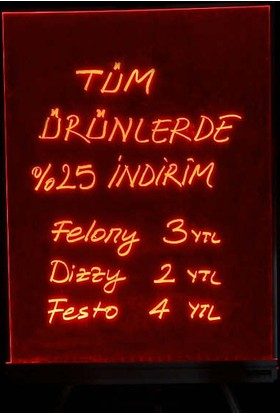 Projeneon Yaz Sil Neon Tabela 30 x 40 Cm 1 Kalemli