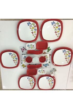 Keramika 24 Parça Kırmızı Kelebek Desenli Kahvaltı Takımı