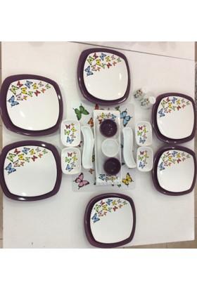 Keramika 24 Parça 6 Kişilik Mor Kelebek Desenli Kahvaltı Takımı