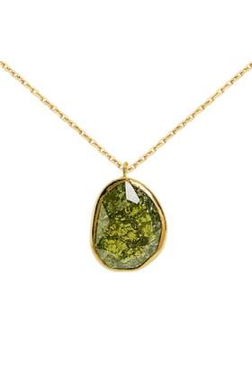 Chavin Yeşil Kuvars Rak Kırma Kristali Bayan Altın Kolye Dn54