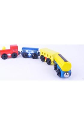 50bir Ahşap Renkli Tren Oyuncak - Mıknatıslı Tren