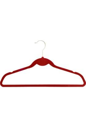 Axentia Elbise Askısı Kadife Kaplama 5 Adet / Kırmızı