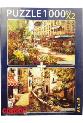 Gordion Games Ponte Di Venezia - Paris Flower Market 2 x 1000 Puzzle