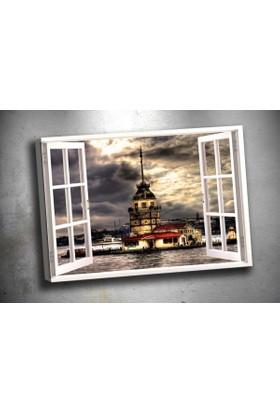 Caddeko Pnc2 Pencereden Kız Kulesi Kanvas Tablo 70 x 100 cm